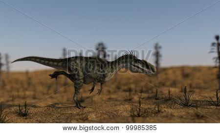 running hunting monolophosaurus
