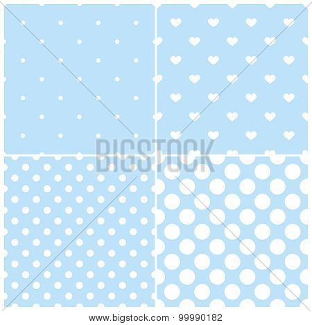 Tile vector pattern set with white polka dots and hearts on blue background