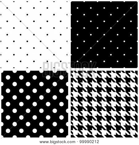 Tile black and white vector pattern set with polka dots and houndstooth