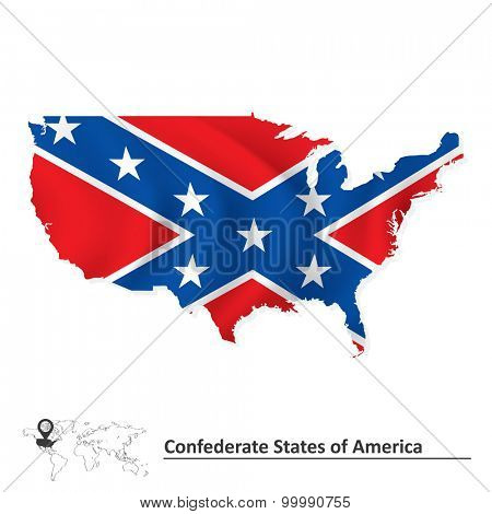 Flag of Confederate states of America with USA map - vector illustration