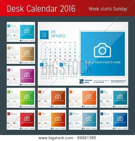 Desk Calendar 2016. Vector Print Template. Week Starts Sunday
