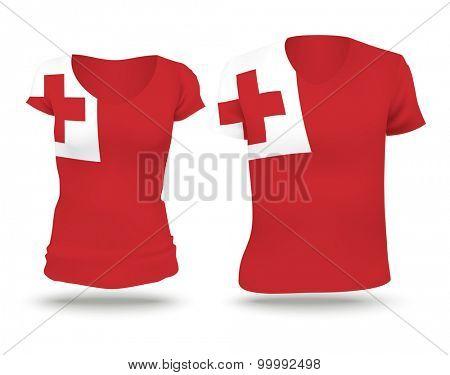 Flag shirt design of Tonga - vector illustration