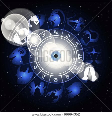 Zodiac Signs In The Space Around The Eye With Highlights