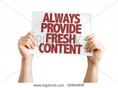 Always Provide Fresh Content card isolated on white