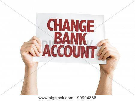Change Bank Account card isolated on white