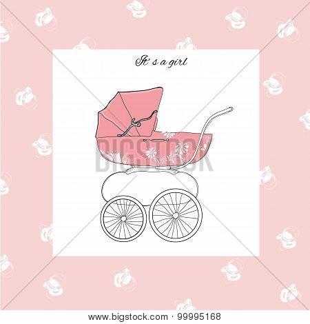 illustration of pram for girl