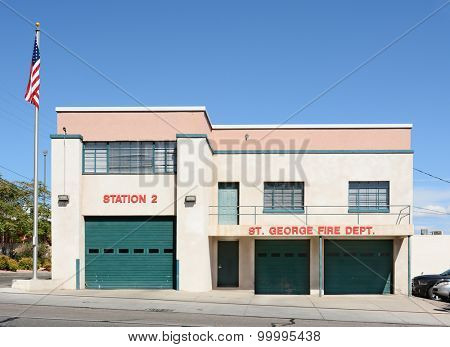 ST. GEORGE, UTAH - AUGUST 15, 2015: The St. George Fire Department Station 2. Station 2 is the oldest fire station in St. George.