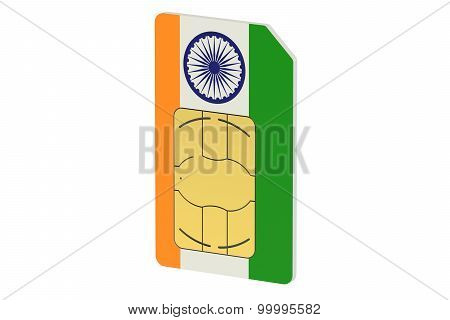 Sim Card With Flag Of India