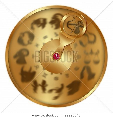 Sagittarius On A Golden Disk