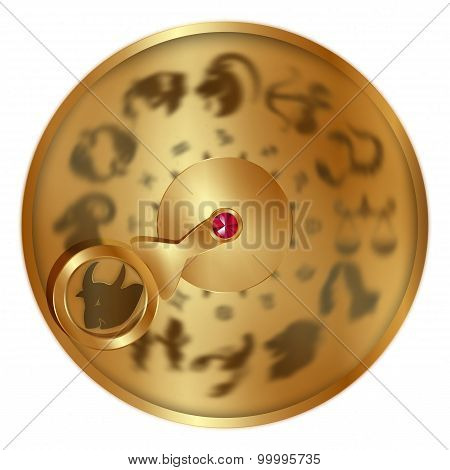 Taurus On A Golden Disk