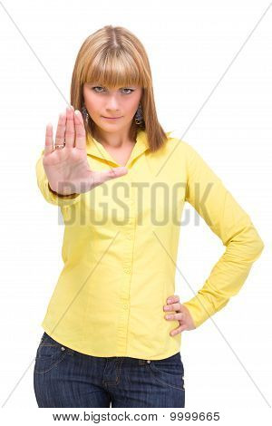 Woman Signalling Stop Sign