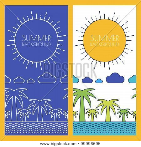Vector Summer Beach, Banner With Place For Text. Flat Linear Illustration Of Palm, Ocean, Sea, Cloud