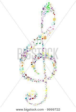Abbildung von einem farbigen g-Schlüssel mit Music notes