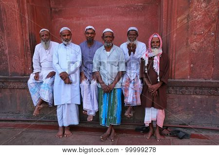 Delhi, India - November 5: Unidentified Men Sit At Jama Masjid On November 5, 2014 In Delhi, India.