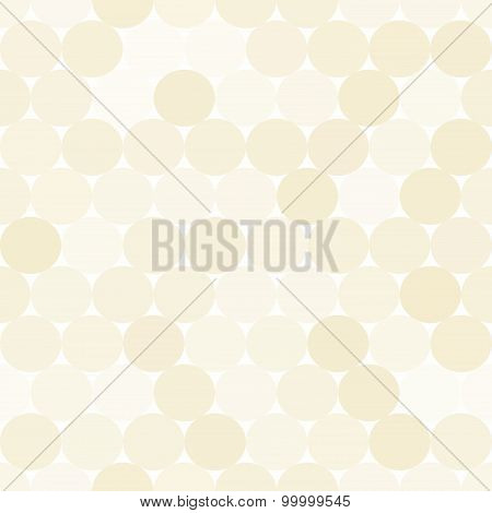 Pale Beige Vector Seamless Pattern With Circles.  Monochrome Abstract Geometrical Background.