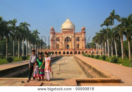 Delhi, India - November 5: Unidentified People Stand In Front Of Tomb Of Safdarjung On November 5, 2
