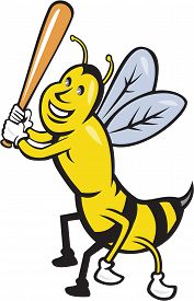 stock photo of bat  - Cartoon style illustration of a killer bee baseball player smiling holding bat batting viewed from the front set on isolated white background - JPG
